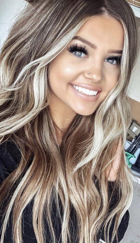 Erstaunliches braunes bis blondes langes gewelltes Haar - Haarfarben - # bis #bl ... -  #