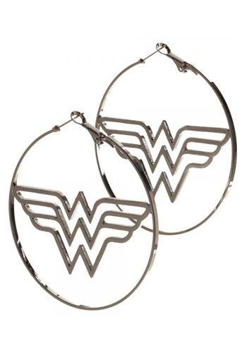 DC Comics Wonder Woman Logo Hoop Earrings