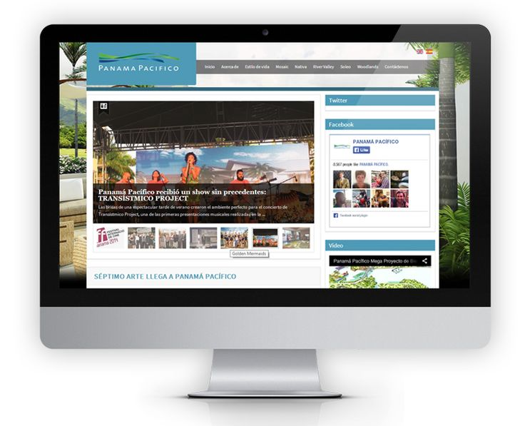 The Panama Pacifico blog website was designed to complement their main website with a bigger focus on news and current events happening at Panama Pacifico.  The homepage features a summary of each news item with bright, large social sharing icons and a sidebar featuring twitter feeds, facebook feeds and an introductory video.