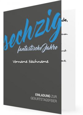 Vorlage für 60. Geburtstag Einladungen, graue Karte, blaue Schrift