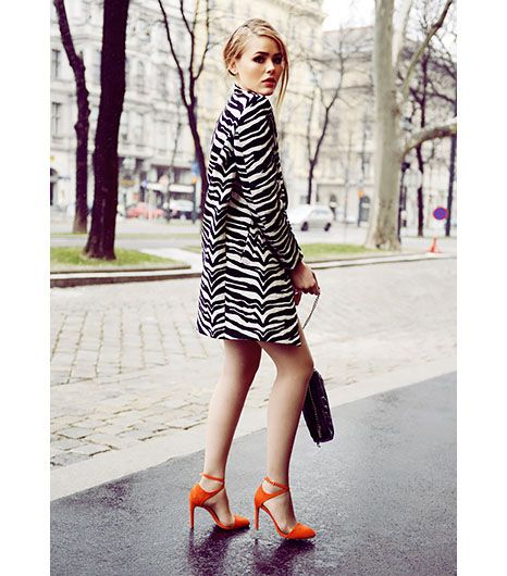 @Who What Wear - Sure Footed                 A black and white color palette happens to be the perfect canvas for showing off bright heels. In other words: let your shoes do all the talking.  On Kristina Bazan: Zara heels  Kayture