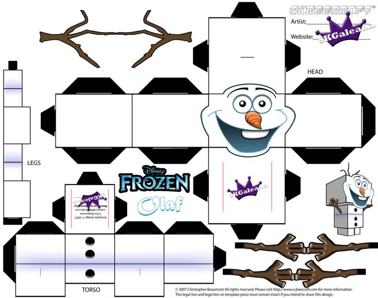 Cubeecraft template of Olaf from Disney's Frozen by SKGaleana.deviantart.com on @deviantART