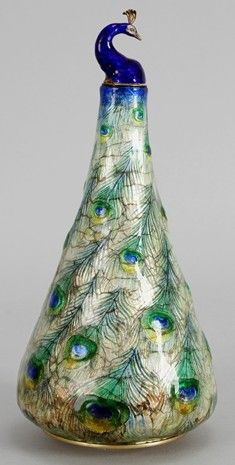 Flask, ca. 1900, Enameled silver & glass with gilding, by Eugene Feuillatre, French (1879–1916). Eugène Feuillâtre was one of the leading enamellers working in Paris at the turn-of-the-century with naturalistic designs inspired by Japanese prints.