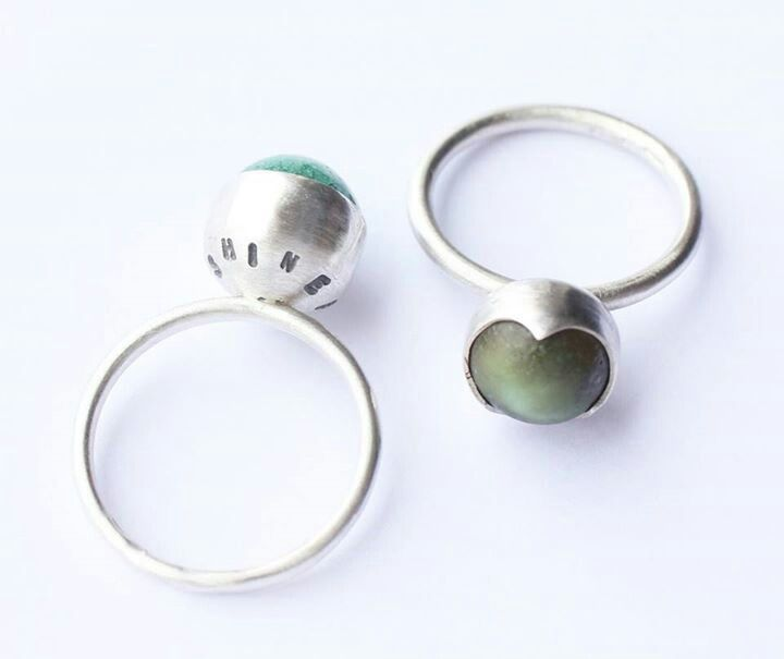"""Left: """"Shine for Me"""", green porcelain gem, plain bezel cup setting, 100% recycled silver. Right: """"Shine for Me"""", matt green porcelain gem, fancy bezel cup setting, 100% recycled silver. Liv Thrane Jewellery. www.facebook.com/livthranejewellery & www.livthrane.com"""