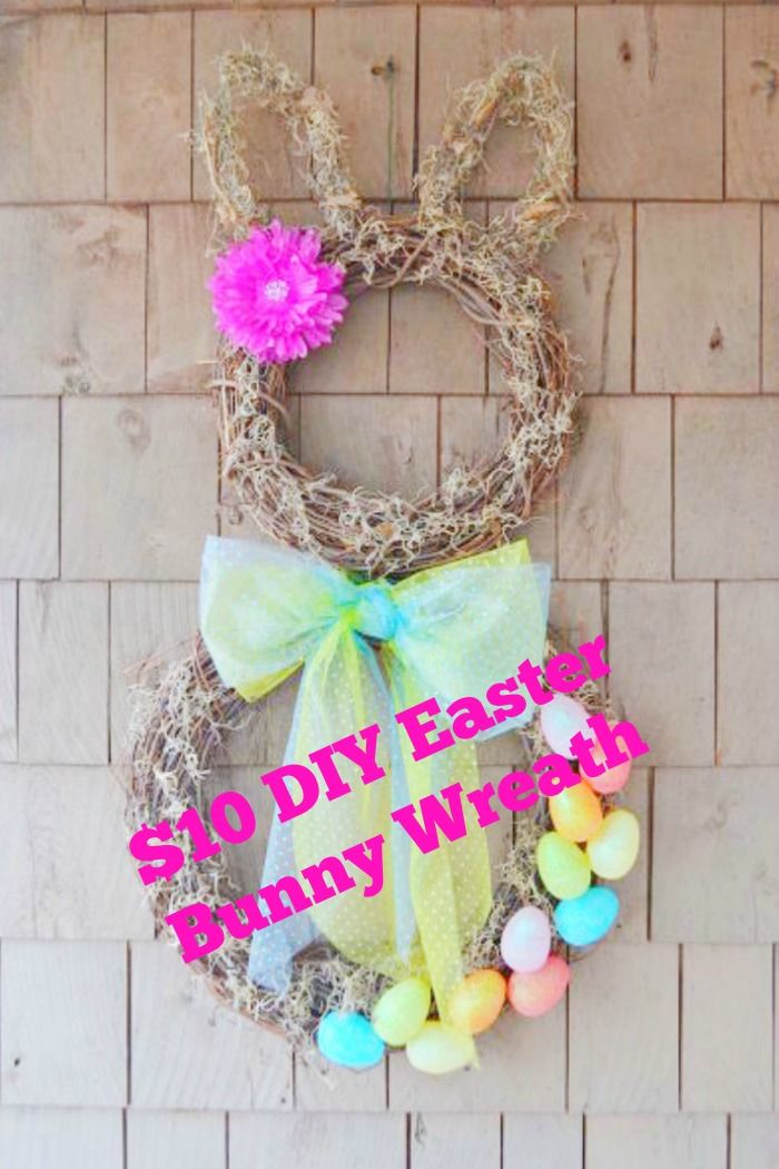 $10 Easy DIY Easter Bunny Wreath ~ perfect for a door or wall art
