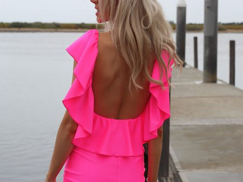 neon neon: Summer Dresses, Backless Dresses, Long Hair, Neon Dresses, Hot Pink, Neon Colors, Neon Pink, Bright Colors, Open Back