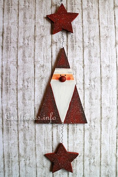 santa crafts | Wood Craft for Christmas - Scroll Saw Project - Santa Claus Garland or ...