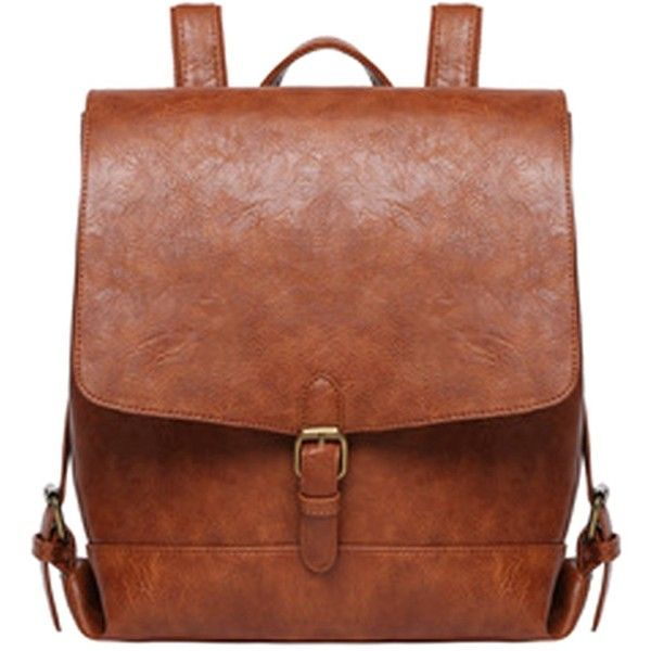 FC Select Design New Vegan Leather Square Buckle Backpack ($94) ❤ liked on Polyvore featuring bags, backpacks, faux leather rucksack, square backpack, backpacks bags, square bag and day pack backpack