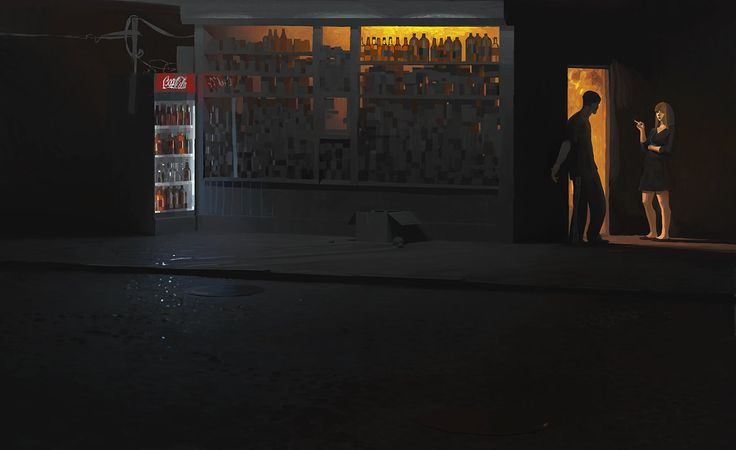 Night shop, Andrey Surnov on ArtStation at https://www.artstation.com/artwork/night-shop