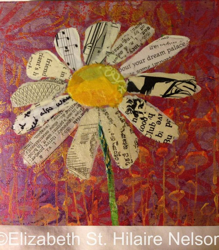 mixed media, flower, paper painting