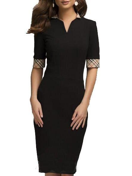 2016 Audrey Hepburn 50s bodycon OL Black dress V Neck plus size XL women clothing vintage Formal Retro Dresses vestidos Spring