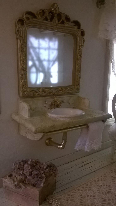 Miniature dollhouse BATHROOM SINK with MIRROR - Miniatura lavello con specchio…