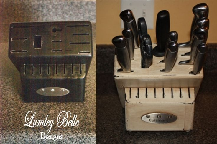 Before and after of a knife block.  I used milk paint, distressed, and antiqued it.  I LOVE it! www.facebook.com/lumleybelledesigns