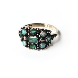 Emerald and Opal Ring in Gold