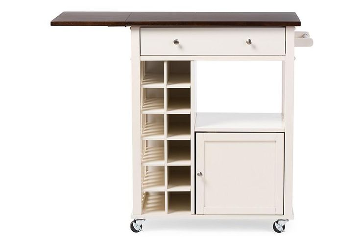 Baxton Studio Justin Modern and Contemporary Cream White Solid Wood Kitchen Cart with Dark Oak Drop Leaf Top and Built-in Wine Rack | HipBeds.com