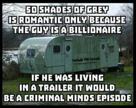 This is too funny! I am reading 50 shades right now and I also love criminal minds! Haha but, yup, probably....