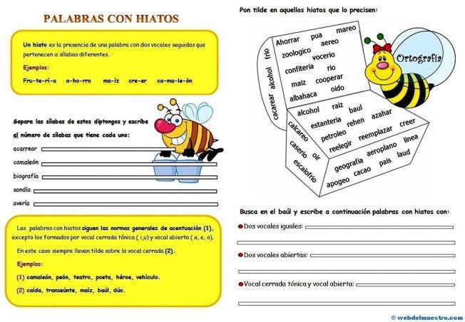 Hiato-Ejercicios de ortografía-5º Nivel