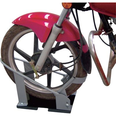 The Ultra-Tow wheel chock Chock features Roll-to-Lock technology, which automatically locks wheel into place when rolled into chock, to secure motorcycle wheel for transport or storage. Mounts securely to truck bed, trailer or floor. Enables one person to easily load and strap down motorcycle. Fits most standard motorcycles. Sturdy 7-gauge steel base plate.