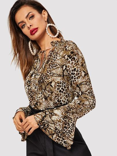 9fb6e2a267ba78 Tie Neck Layered Flounce Sleeve Snake Skin Top in 2019 | Lovely ...