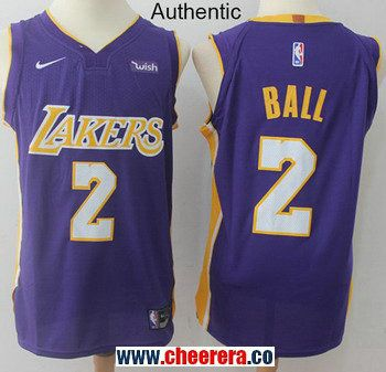 2803eb407 Men s Nike Los Angeles Lakers  2 Lonzo Ball Purple NBA Authentic Statement  Edition Jersey