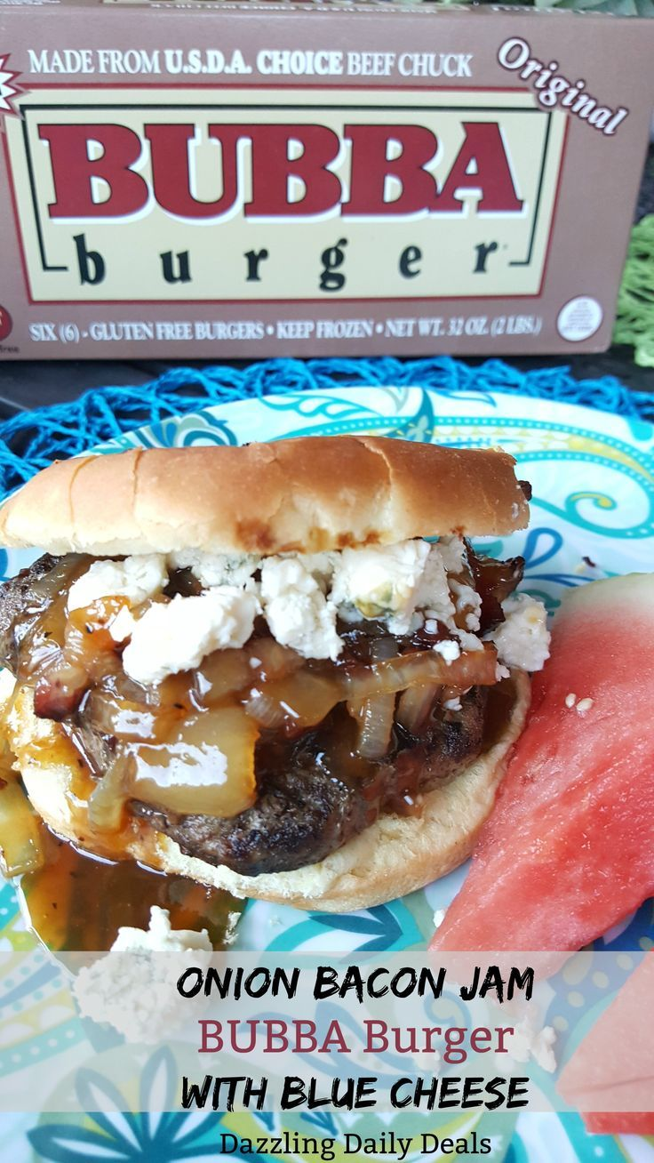 BUBBA Burgers – Onion Bacon Jam Burger With Blue Cheese Recipe #AD