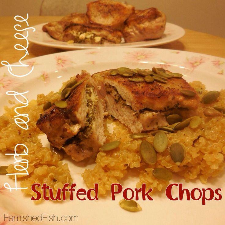 Herb and Cheese Stuffed Pork Chops #pork #porkchops #pesto #feta # ...