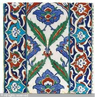 IZNIK CERAMIC, 16 > (Turkey)  Title : EDGING TILE  Date : ca 1580  EDGING TILE sold by Christie's, London, on Thursday, April 07, 2011