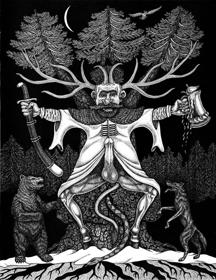 Bóg Boruta. Należy do Tynu Wiłów-Borowiłów. Copyright © by Czesław Białczyński, all rights reserved ® by Jerzy Przybył Bogowie Słowian