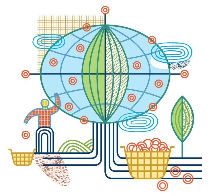 Global Investing. Illustrated by Thom Sevalrud.. Represented by i2i Art Inc. #i2iart