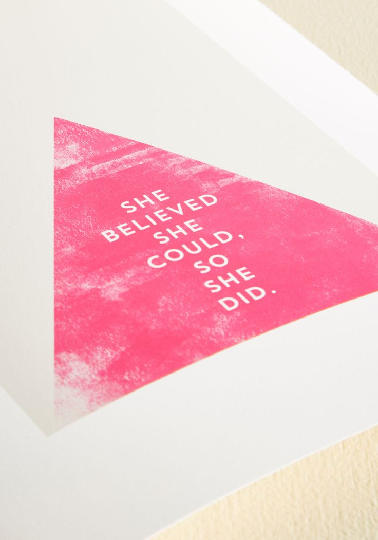 Adhere this art print by Allyson Johnson for DENY to your wall as a beautiful and enlightening reminder. Featuring a vibrant pink triangle against a taupe background and decorated with inspirational text, this decor poses as a prompt to always find confidence in yourself.