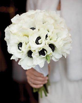 Just a Touch of Blue Martha Stewart Weddings Anemone Bouquet Bridal Bride Wedding Flowers White Black Simple Modern