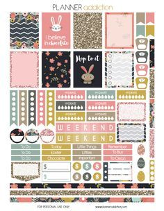 Free Easter Printable Planner Stickers from Planner Addiction