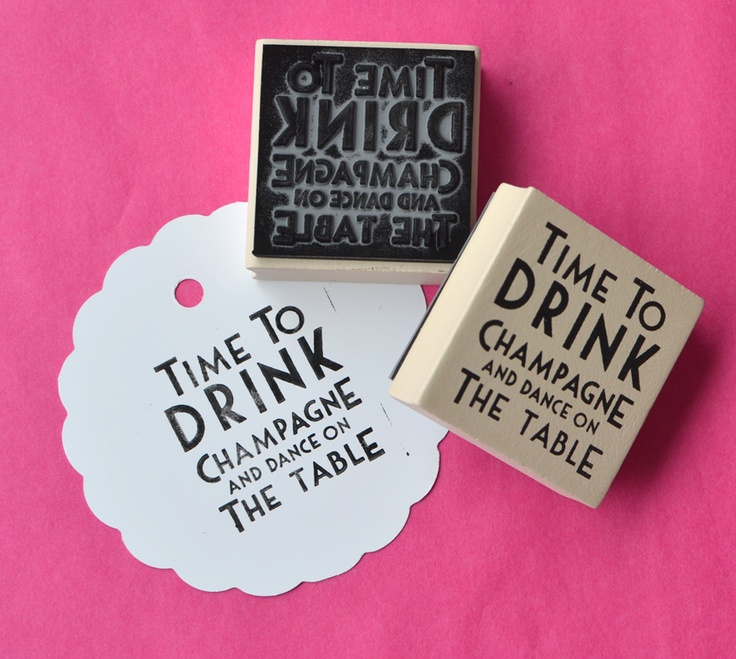 Make it known - It's time to drink champagne and dance on the table!!! Blank tags sets and stamps -  www.macaroon.co