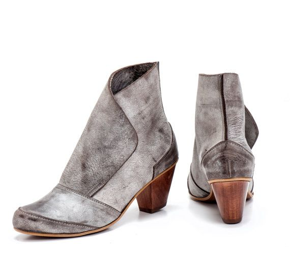Beige Grey Leather Booties / Women Leather by EllenRubenBagsShoes