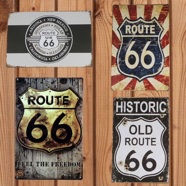 Los Signos De La Ruta 66 20*30 cm Cafe Restaurant Pub Bar Club Decoración Del Metal de la Vendimia Cartel de chapa de Arte cartel de la Pintura Del Arte