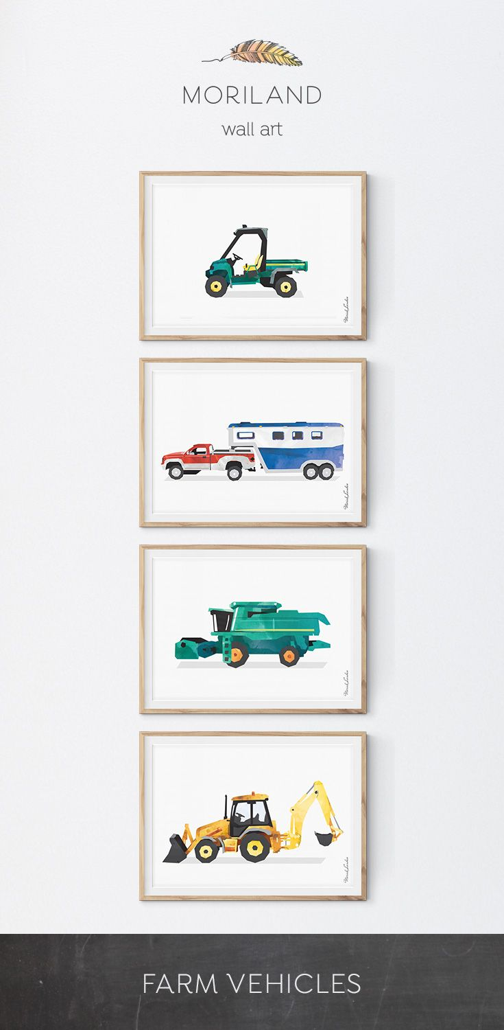 Utility Vehicle Farm Print, John Deere Gator, Truck Art, Farm Theme Birthday, Transportation Wall Art, Toddler Printables, Nursery Decor #utility #john #deere #gator #horse #trailer #pickup #truck #combine #harvester #backhoe #loader #tractor #farm #vehicle #print #printable #wall #art #decor #birthday #big #boy #room #toddler #watercolor #diy #little #kids #children #bedroom #playroom #instant #download #transportation #construction By MORILAND Wall Art