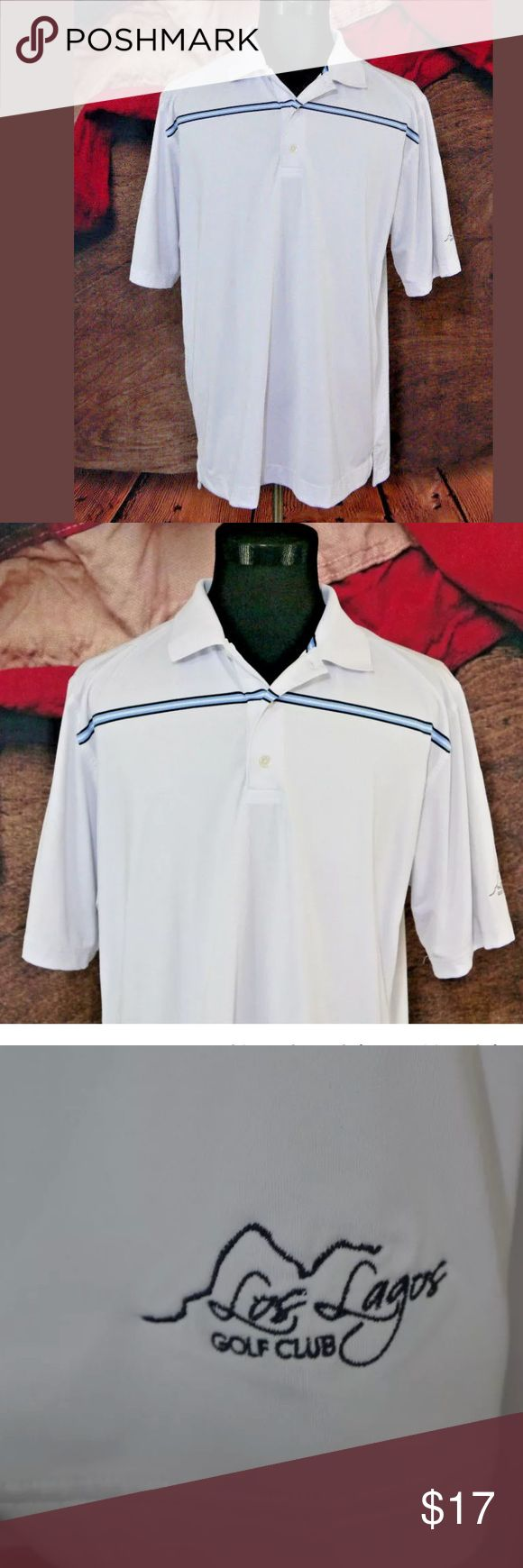 """FOOTJOY FJ Mens Golf Polo  Off White Size XL Pre-Owned in Excellent Condition FOOTJOY FJ Mens Golf Polo Shirt Off White Blue striped Size XL EUC   Size: XL  Material: 88% Polyester / 12% Spandex  Color: Off White with Blue, Black, White Stripe  Measurements: Chest: 25"""" / Sleeve: 12"""" / Shoulders: 20"""" / Length: 32"""" FootJoy Shirts Polos"""
