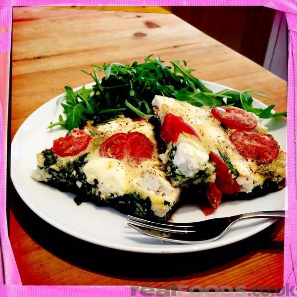 Italian Vegetarian Cherry Tomato Spinach And Feta Frittata Recipe