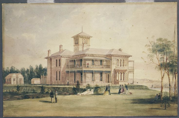 Frederick Garling, Retford Hall, Darling Point, Sydney, ca. 1866. This house was designed by Edmund Blacket for merchant Anthony Hordern.Mitchell Library, State Library of New South Wales: http://www.acmssearch.sl.nsw.gov.au/search/itemDetailPaged.cgi?itemID=132789