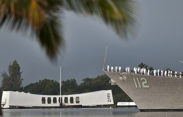 121207-N-WF272-072 PEARL HARBOR (Dec. 7, 2012) The guided-missile destroyer USS Michael Murphy (DDG 112) conducts a pass-in-review by the USS Arizona Memorial during the 71st Anniversary Pearl Harbor Day Commemoration ceremony at the Pearl Harbor Visitor Center. More than 2000 guests, including Pearl Harbor survivors and other veterans, attended.  (Photo by MC3 Diana Quinlan)