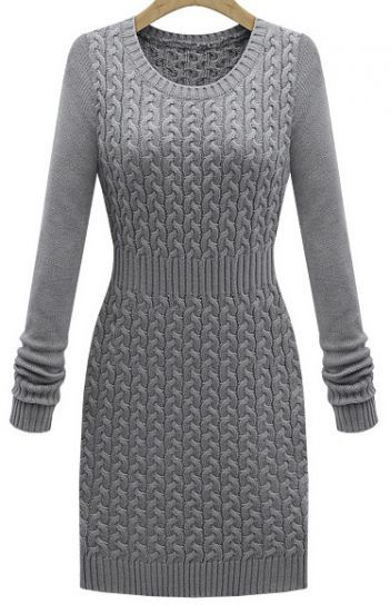 Grey Long Sleeve Cable Knit Sweater Dress pictures