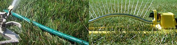 Summer Lawn Sprinkler Review | Traveling Water Oscillating - compares the types of hose-fed sprinklers.