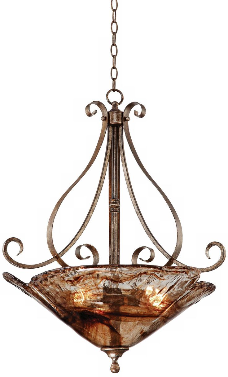 Wildwood brass and crystal beads buffet - Franklin Iron Works Amber Scroll 24 3 4 Wide Pendant