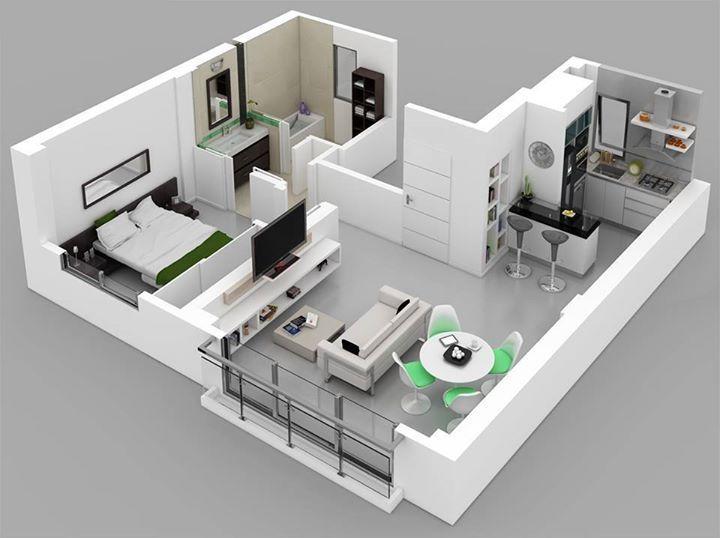 one bedroom houseapartment plans - House 3d Plan