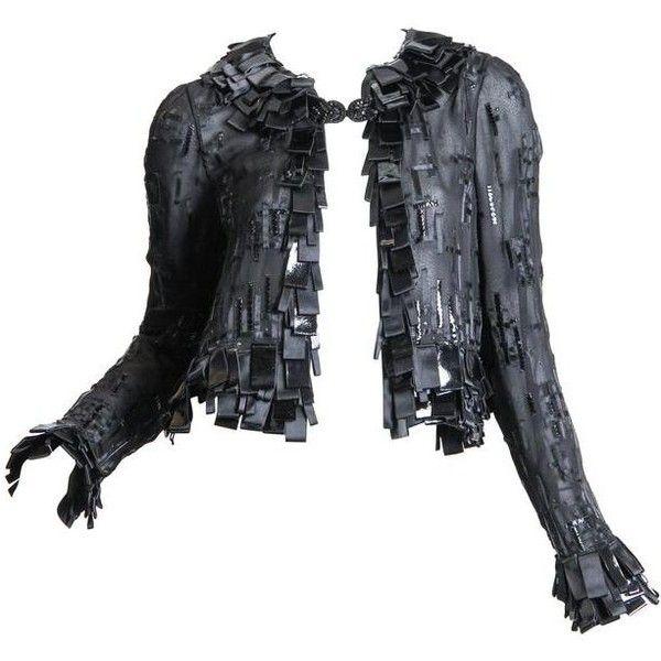 Preowned Sheer Oscar De Larenta Embellished Jacket ($2,800) ❤ liked on Polyvore featuring outerwear, jackets, black, heavy leather jacket, heavy jacket, floral leather jacket, flower print jacket and real leather jackets