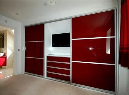 Bedroom Cupboards Designs Furniture Red For Fitted With Television Built In Wardrobe Above Drawer