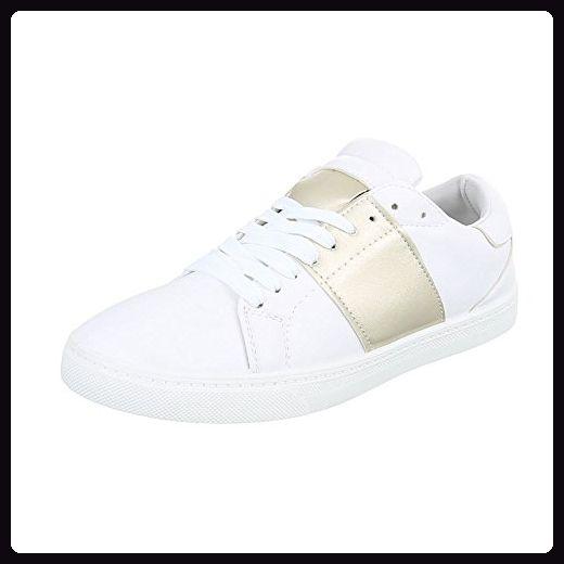 Sportschuhe Damen-Schuhe Geschlossen Sneakers Schnürsenkel Ital-Design Freizeitschuhe Weiß Gold, Gr 41, T207P- - Sneakers für frauen (*Partner-Link)