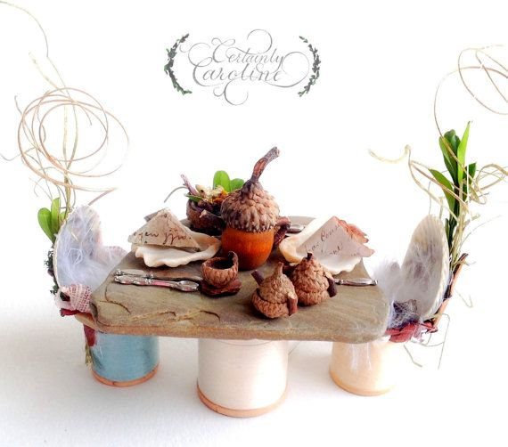 Miniature Fairy Tea Party Table and Chairs Set, Service for 1 to 4 // Woodland fairy tea party, Fairy furniture from nature, acorn tea set