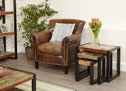 Urban Chic Nest of Tables #furniture #home #interior #decor #livingroom #lounge #bedroom #hallway #boho #bohemian #shabbychic #urban #contemporary #table #leather #chair #plant