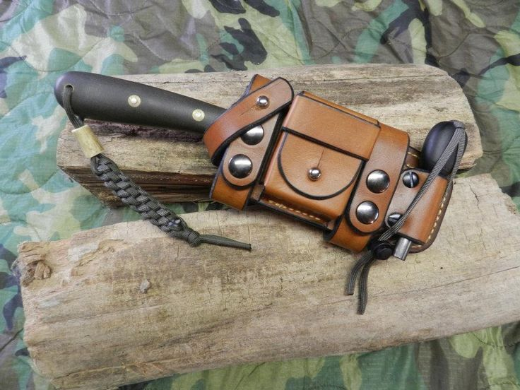 Voyager Leatherworks Scout Carry Plain - Don't know what's so plain about it. Firesteel holder, whetstone, and who knows what else. $125